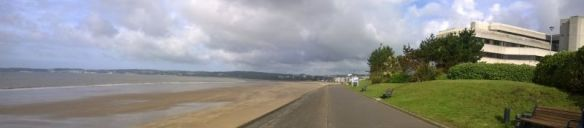 Gorgous sunshine on beach walk to University of Swansea from hotel during EuroVis 2014.
